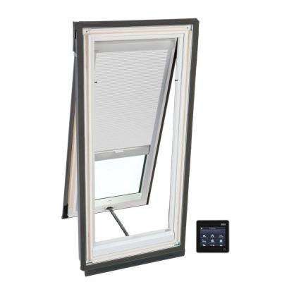 21 in. x 45-3/4 in. Solar Powered Venting Deck-Mount Skylight with Laminated Low-E3 Glass and White Room Darkening Blind