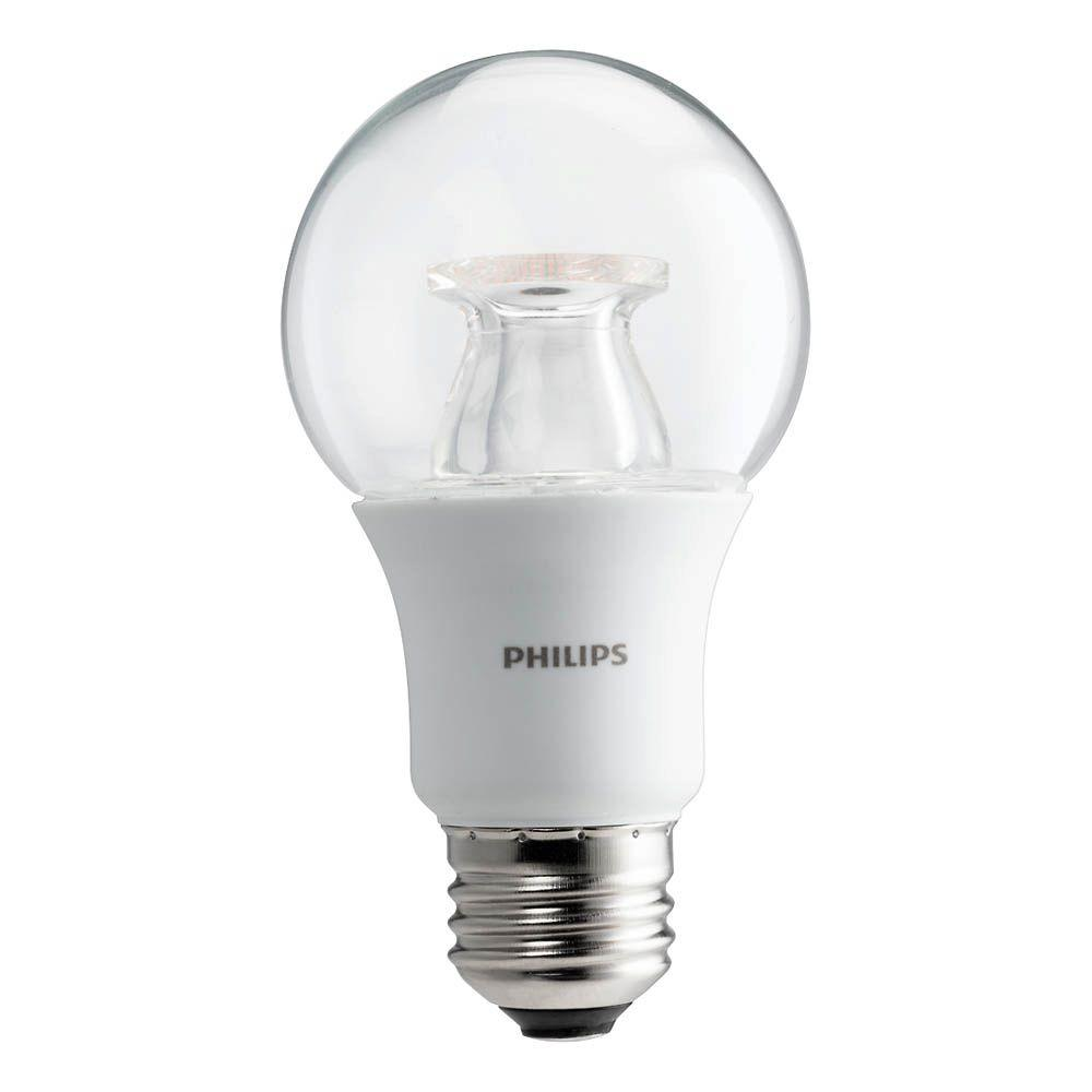 Superior Philips 60 Watt Equivalent A19 Dimmable LED Light Bulb Soft White Clear  With Warm Glow Light Effect 458828   The Home Depot Photo