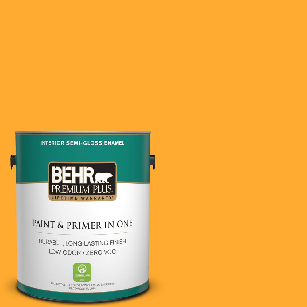 1 gal. #S-G-310 Peach Butter Semi-Gloss Enamel Zero VOC Interior Paint