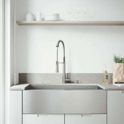 All-in-One Farmhouse Stainless Steel 36 in. 0-Hole Kitchen Sink and Laurelton Stainless Steel Faucet Set