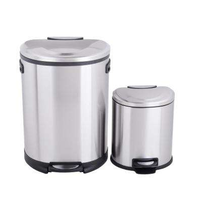 Utopia Alley Cress Contour Curved Stainless Steel Trash Can