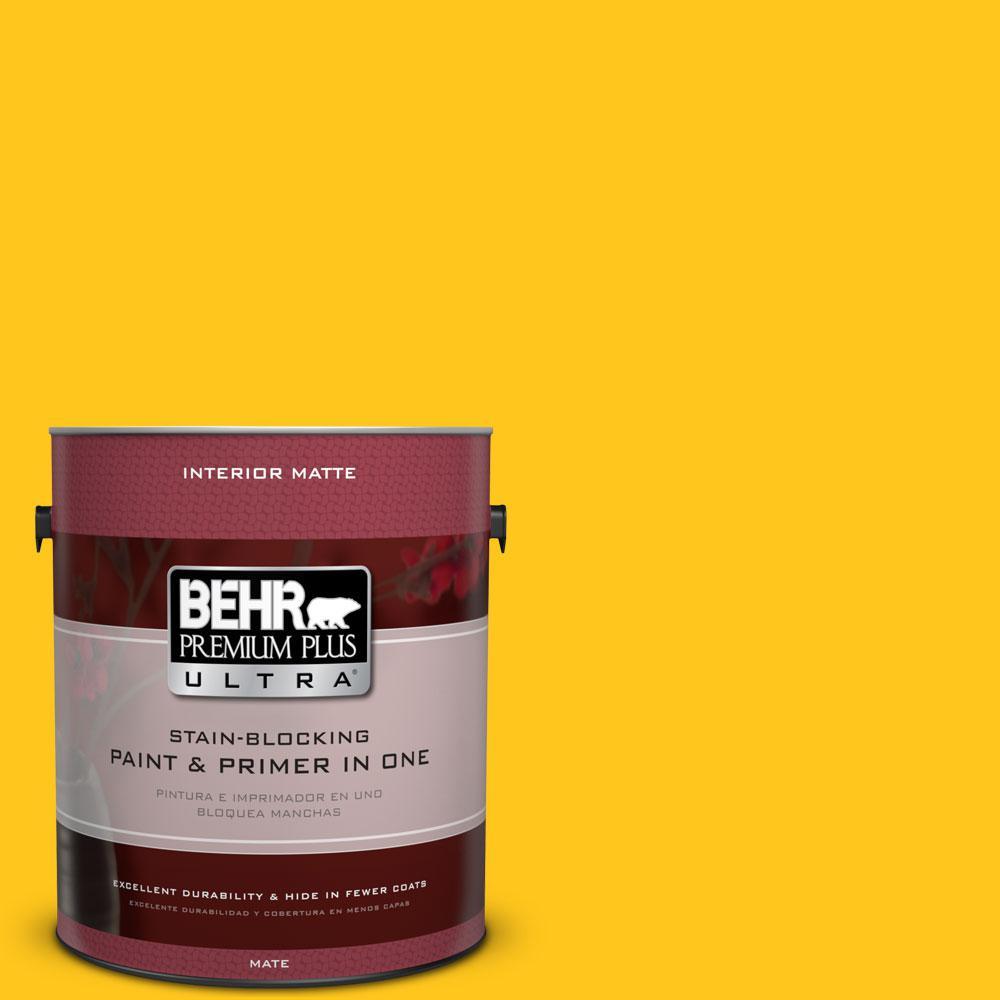 BEHR Premium Plus Ultra 1 gal. #P300-7 Unmellow Yellow Matte Interior Paint