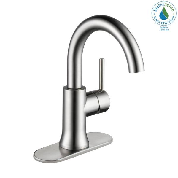 Delta Trinsic Single Hole Single Handle Bathroom Faucet With Metal Drain Assembly In Stainless 559ha Ss Dst The Home Depot