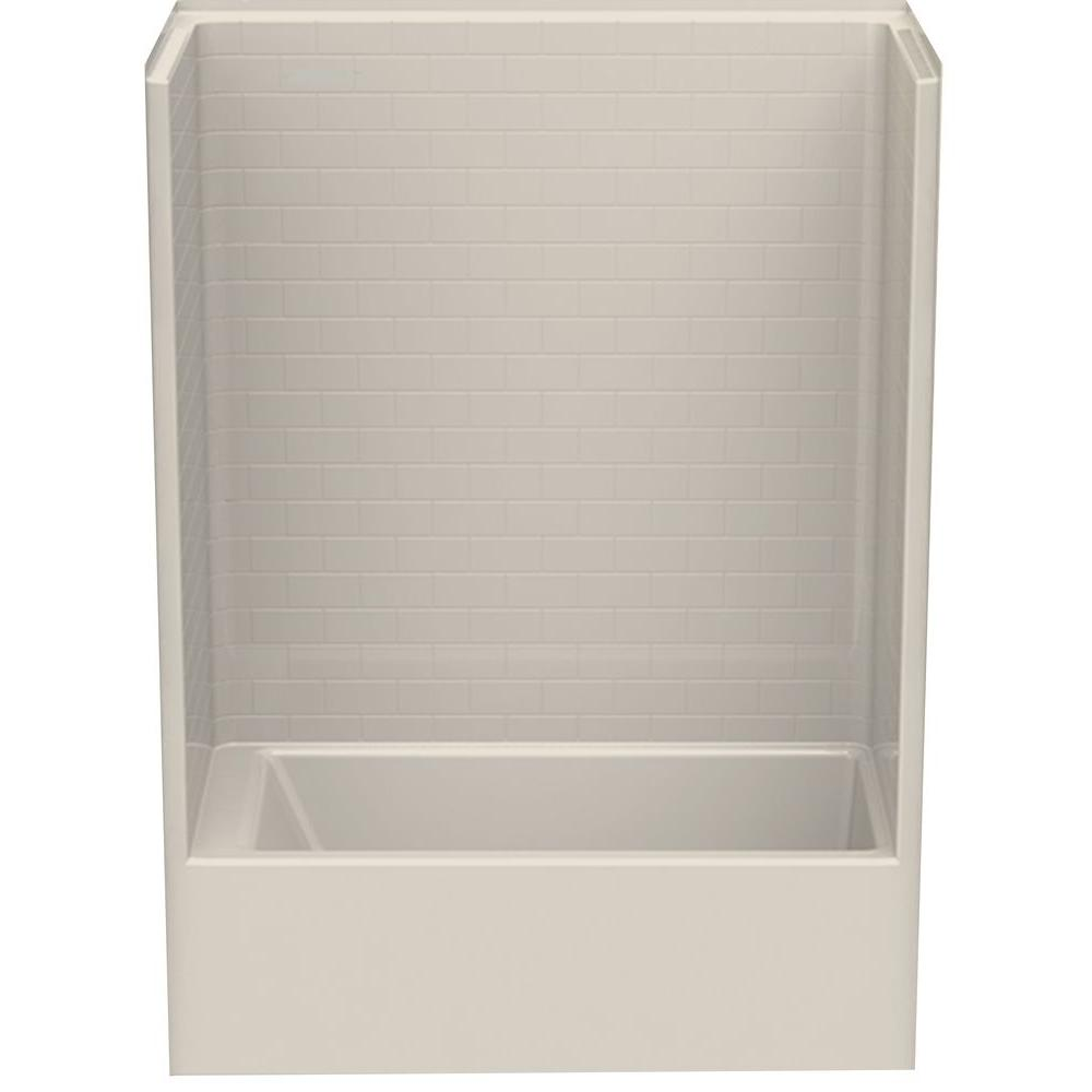 1 Piece Tub Shower Combo. Aquatic Everyday Subway Tile 60 in  x 32 80 1 Piece Bath and Shower Kit with Right Drain Bone 6032STTR BOHD The Home Depot