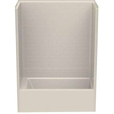 Everyday Subway Tile 60 in. x 32 in. x 80 in. 1-Piece Bath and Shower Kit with Right Drain in Bone
