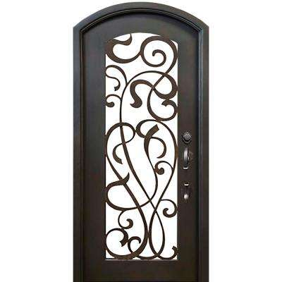 40 in. x 82 in. Eyebrow St. Lucie Dark Bronze Full Lite Painted Wrought Iron Prehung Front Door (Hardware Included)