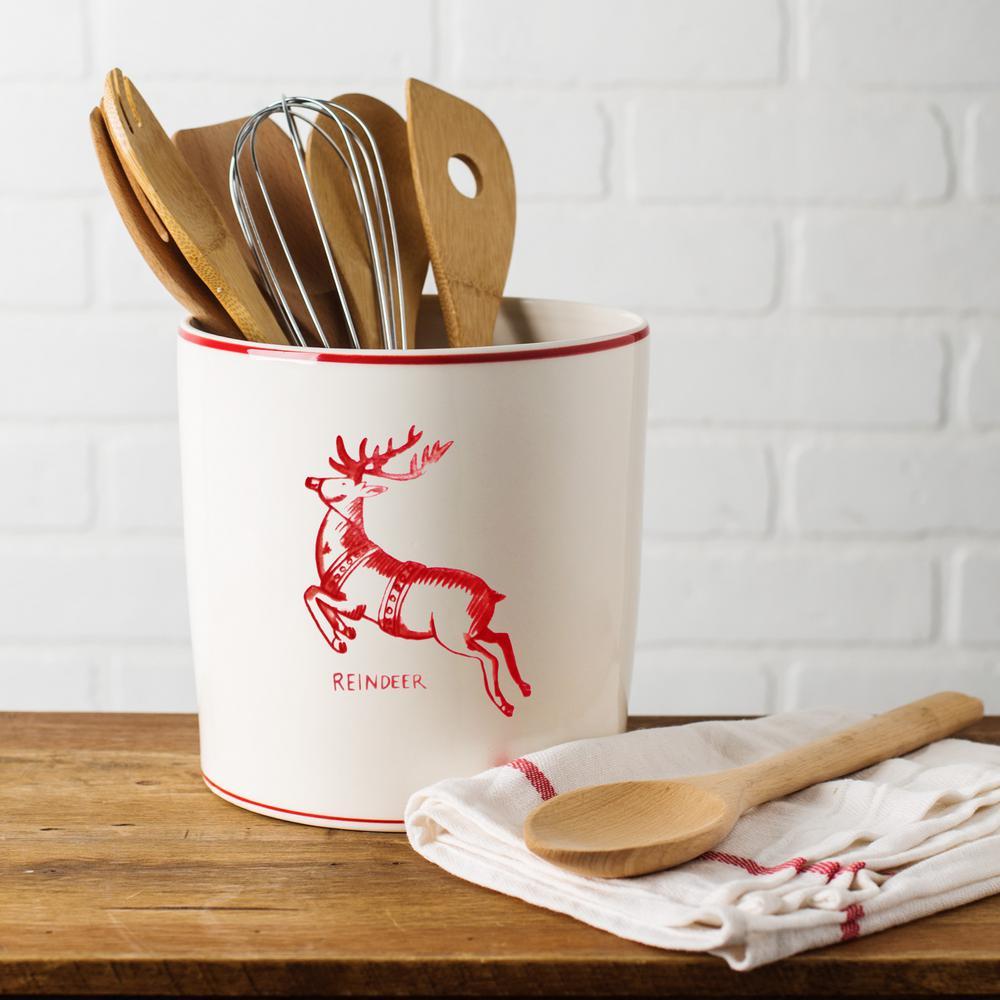 7 In D White Reindeer Round Utensil Crock