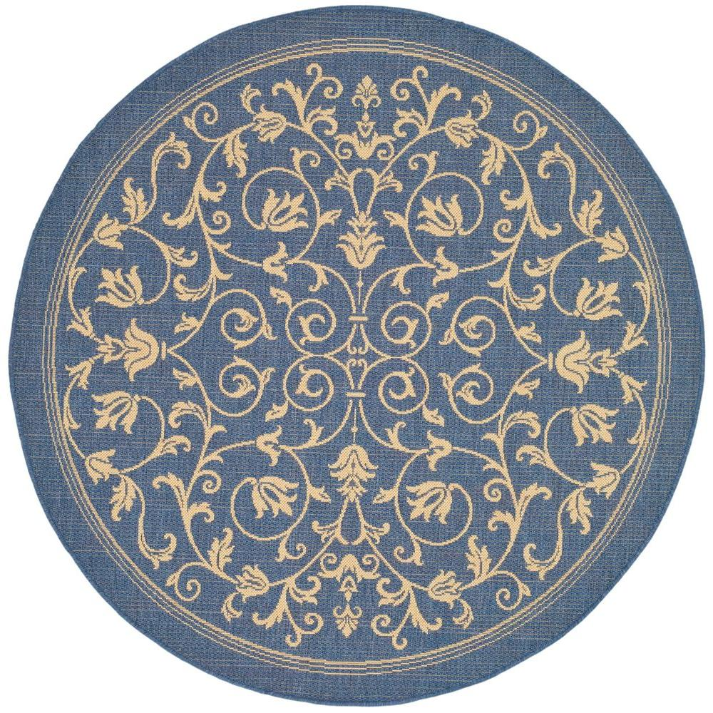 Safavieh Courtyard Blue Natural 5 Ft 3 In X 5 Ft 3 In