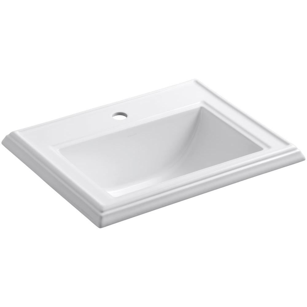Memoirs Drop-In Vitreous China Bathroom Sink in White with Overflow Drain