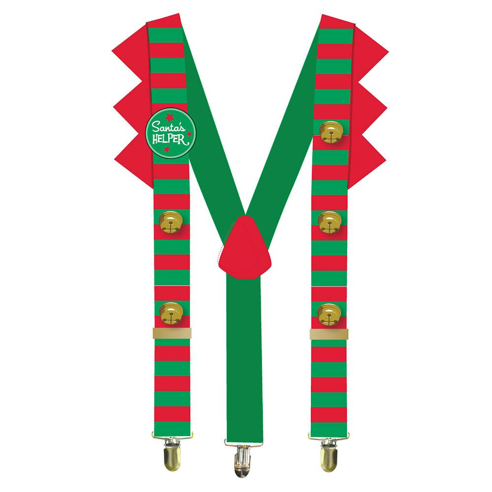 237170a8e9cc9 Elf Christmas Suspenders with Santa s Helper Button Gold Jingle Bells and  Red Felt Trim (2-Pack)