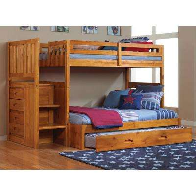Honey Twin over Full Solid Pine Staircase Bunkbed with 4-Drawer Chest and Twin Trundle