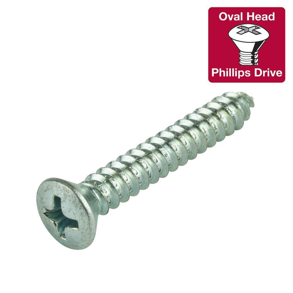 #14 1-1/2 in. Phillips Oval-Head Sheet Metal Screws (4-Pack)
