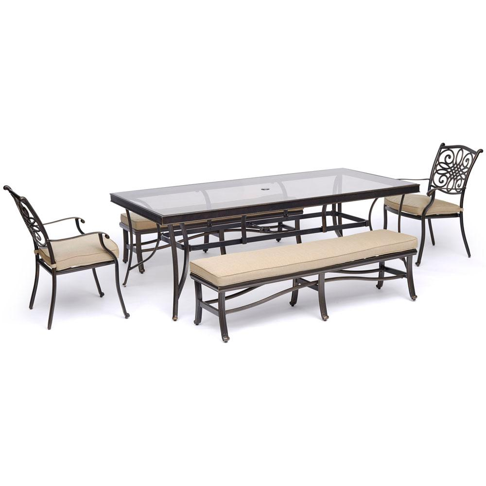 Terrific Hanover Traditions 5 Piece Aluminum Outdoor Dining Set With Tan Cushions With Two Chairs And Glass Top Table Gmtry Best Dining Table And Chair Ideas Images Gmtryco
