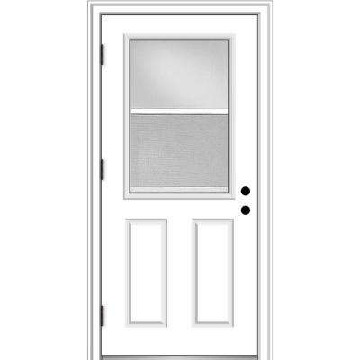 32 in. x 80 in. Vented Right-Hand Outswing 1/2 Lite Clear Primed Steel Prehung Front Door with Brickmould
