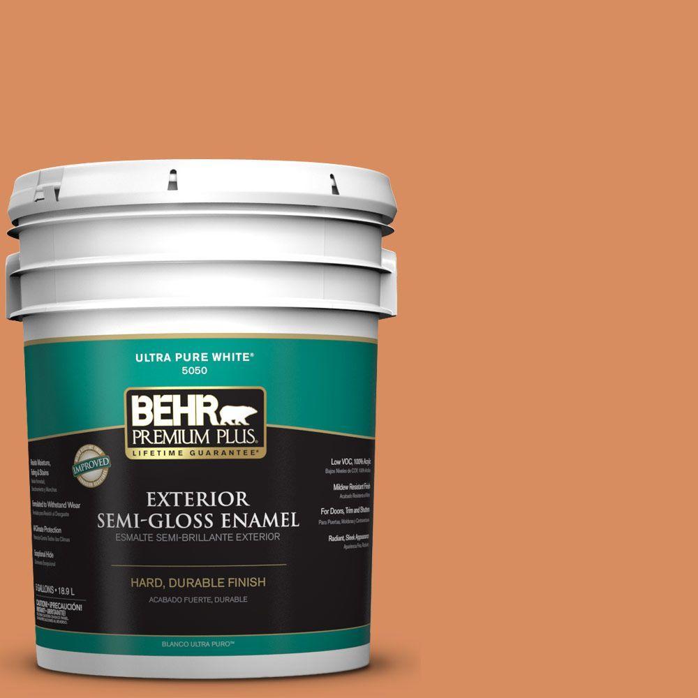 5-gal. #M220-6 Pumpkin Puree Semi-Gloss Enamel Exterior Paint