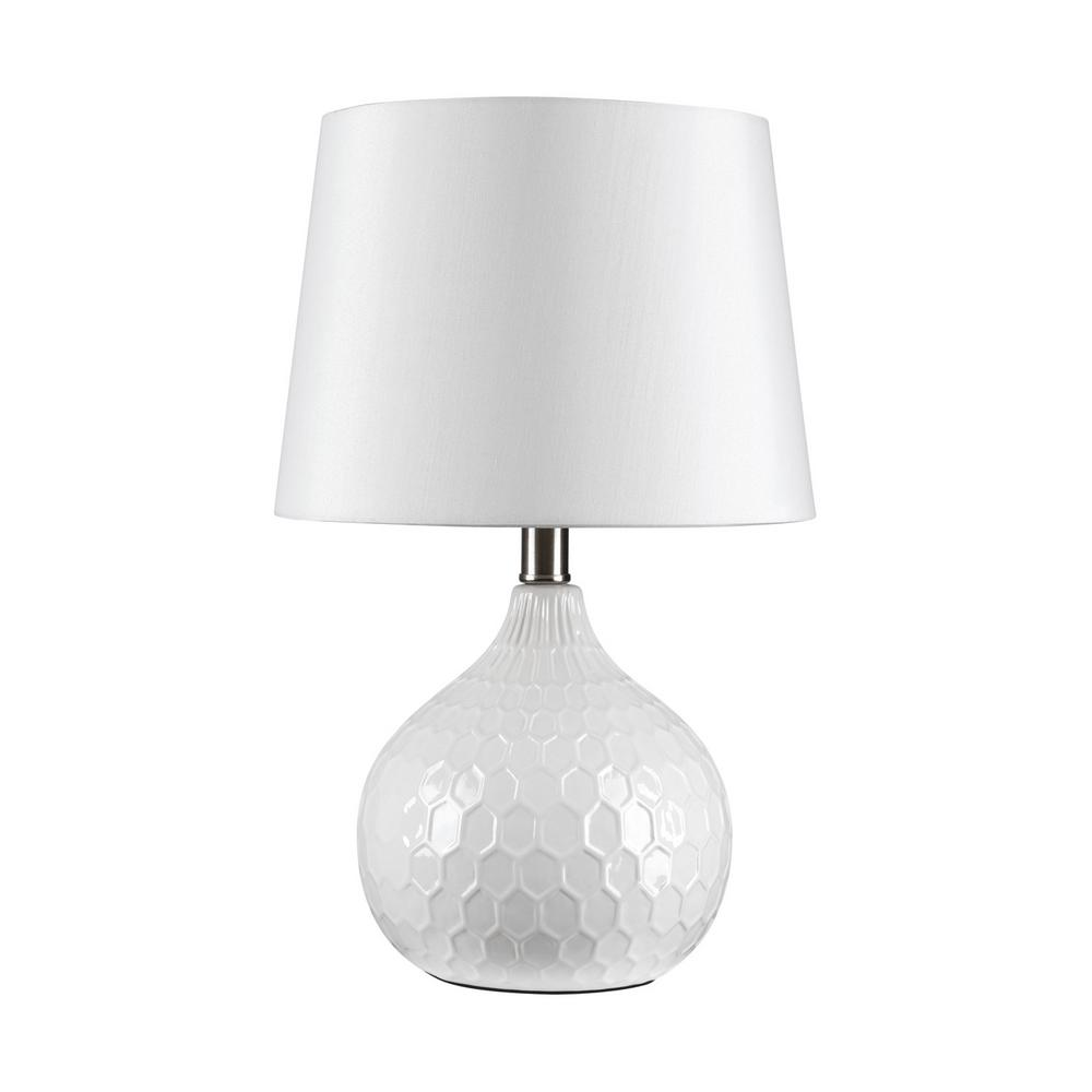 Globe Electric Caddie 17 in. White Ceramic Base Table Lamp with White Fabric Shade