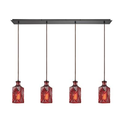 Giovanna 4-Light Linear Pan in Oil Rubbed Bronze with Wine Red Decanter Glass Pendant