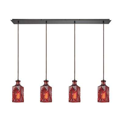 Titan Lighting Giovanna 4-Light Linear Pan in Oil Rubbed Bronze with Wine Red Decanter Glass Pendant by Titan Lighting