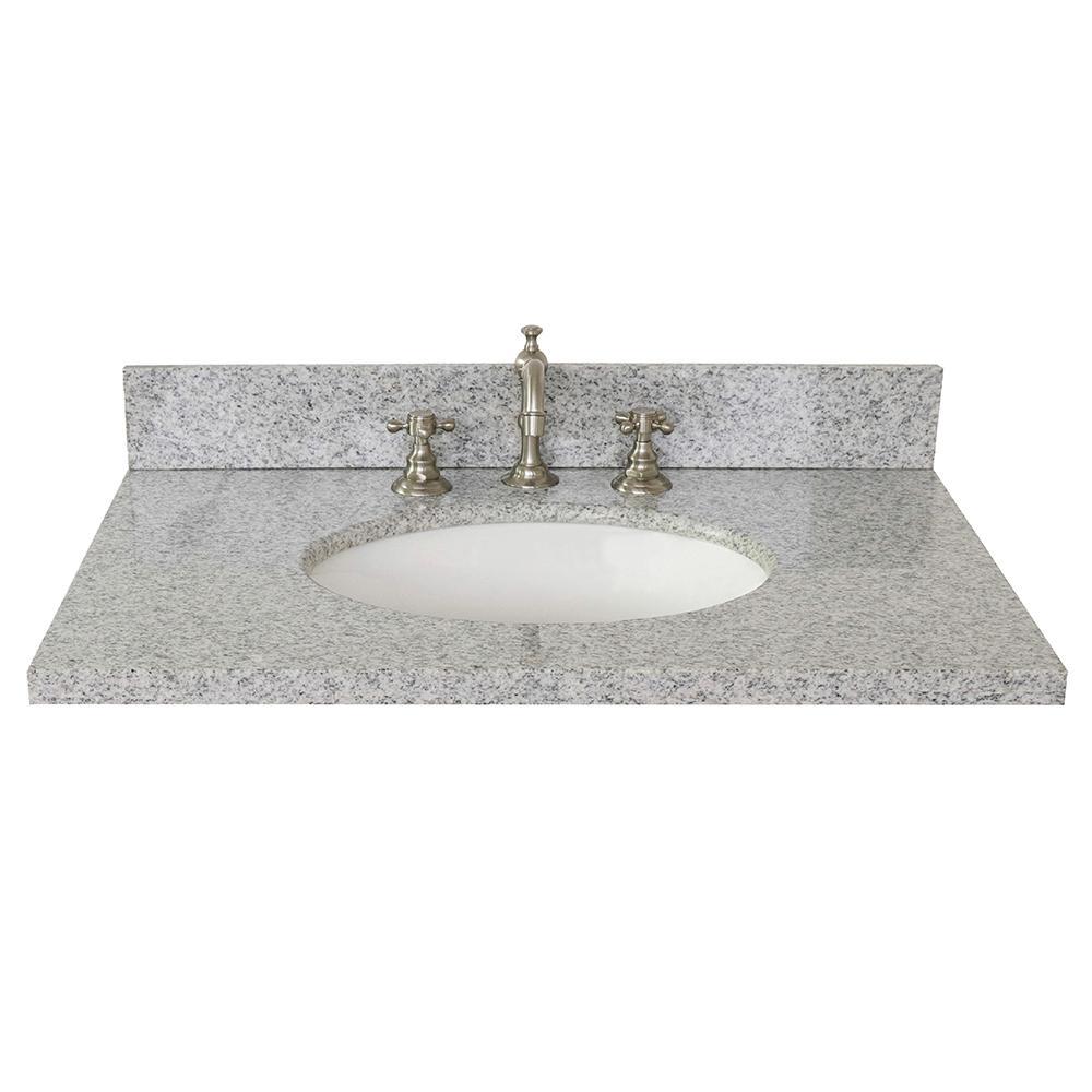 Ragusa 31 in. W x 22 in. D Granite Single Basin Vanity Top in Gray with White Oval Basin