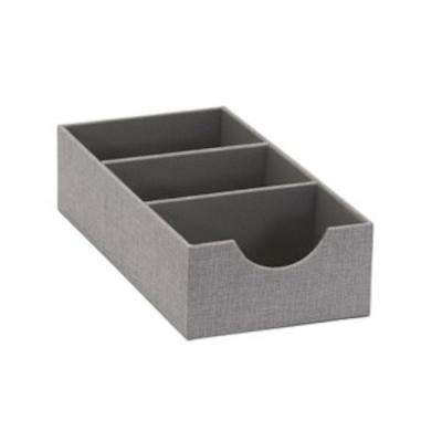 6 in. x 3 in. Oblong 3 Section Hardsided Tray in Silver