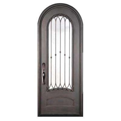 40 in. x 98 in. Concord Classic 3/4 Lite Painted Oil Rubbed Bronze Clear Wrought Iron Prehung Front Door