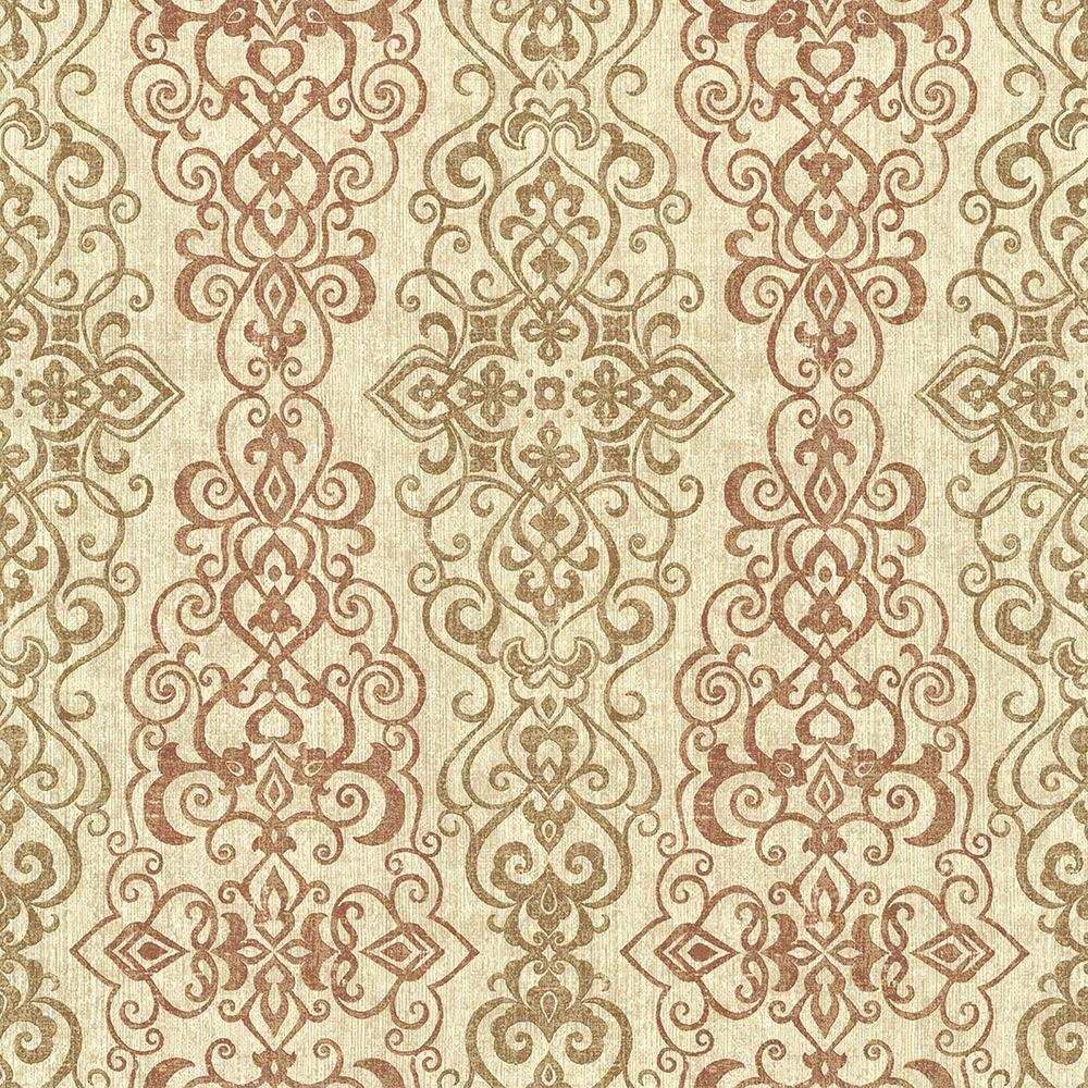 Mexuar Copper Filigree Stripe Wallpaper