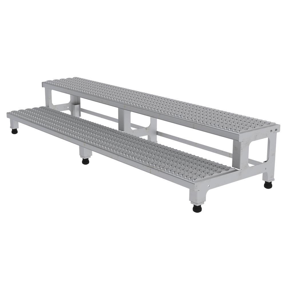 Vestil 72 inch x 23 inch 2-Step Adjustable Stainless Steel Step Mate Stand by Vestil