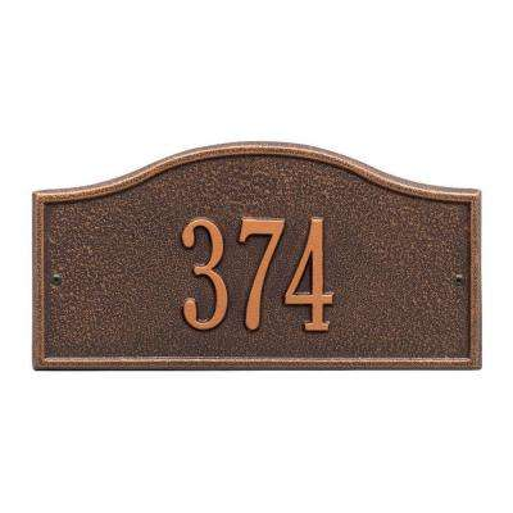 Rolling Hills Rectangular Antique Copper Mini Wall 1-Line Address Plaque