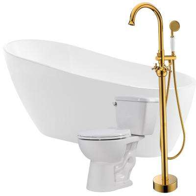 Trend 67 in. Acrylic Flatbottom Non-Whirlpool Bathtub with Bridal Faucet and Author 1.28 GPF Toilet