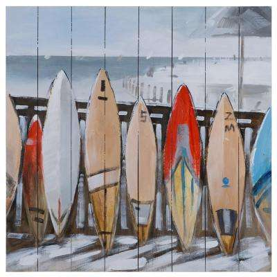 32 in. H x 32 in. W Surfitude Artwork in wood