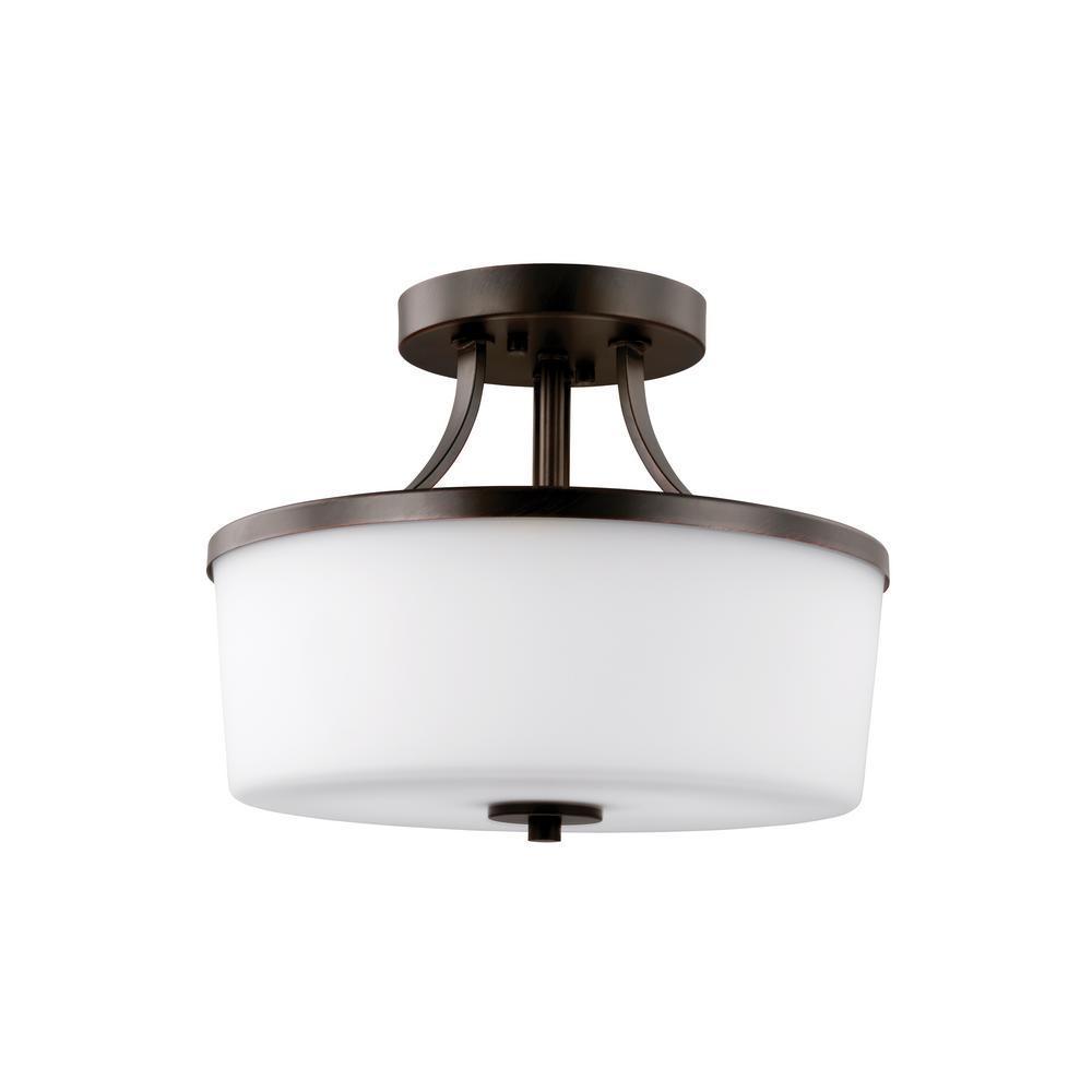 Hettinger 2-Light Burnt Sienna Semi-Flushmount Convertible Pendant with LED Bulbs
