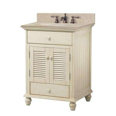 Cottage 25 in. W x 22 in. D Bath Vanity in Antique White with Granite Vanity Top in Beige