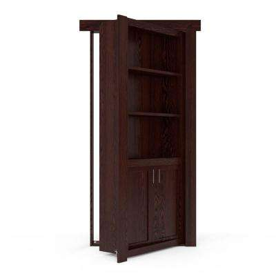 32 in. x 80 in. Flush Mount Assembled Laundry Door Oak Dark Stained Right-Hand Outswing