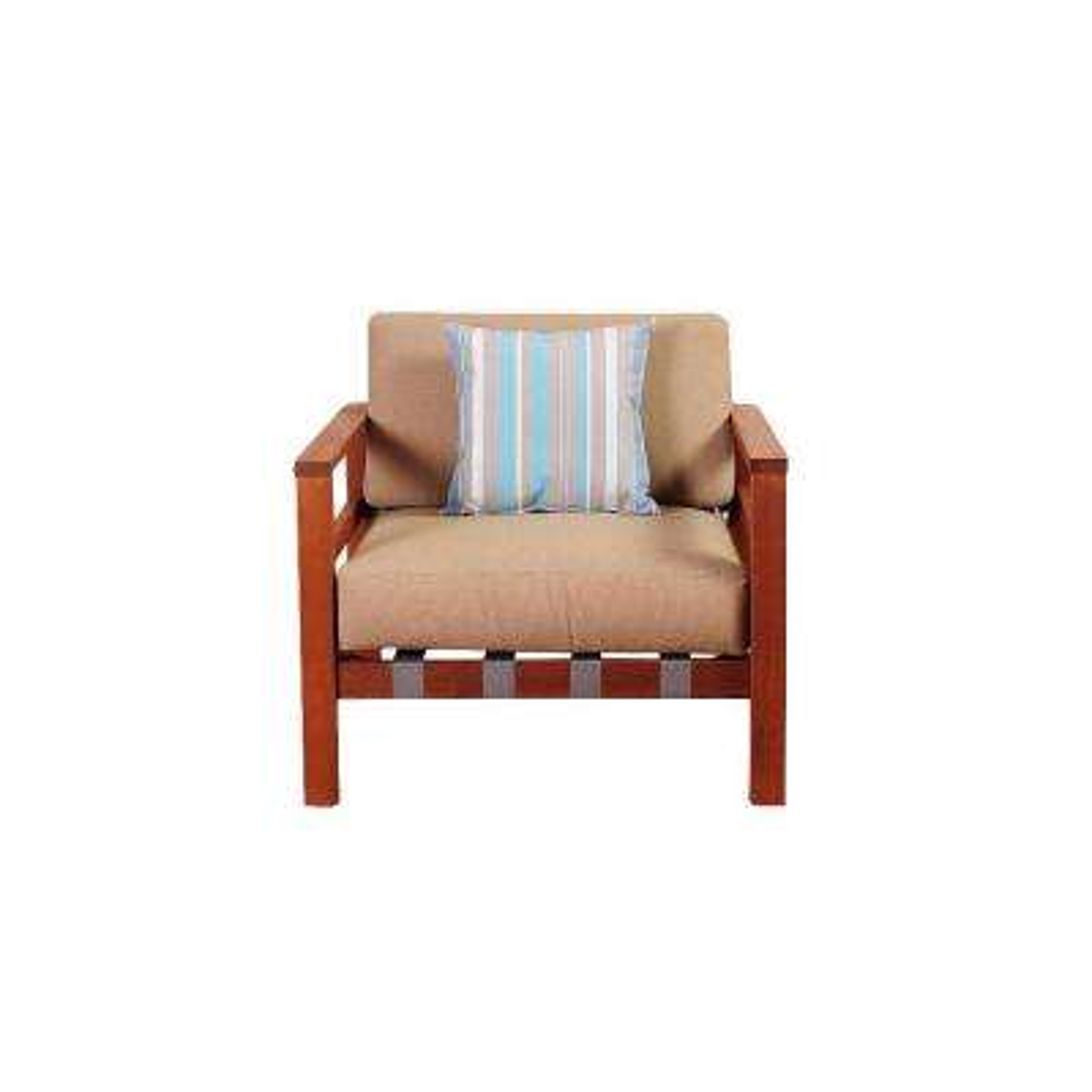 Maya Eucalyptus Sectional Patio Armchair with Khaki Cushions by Jamie Durie