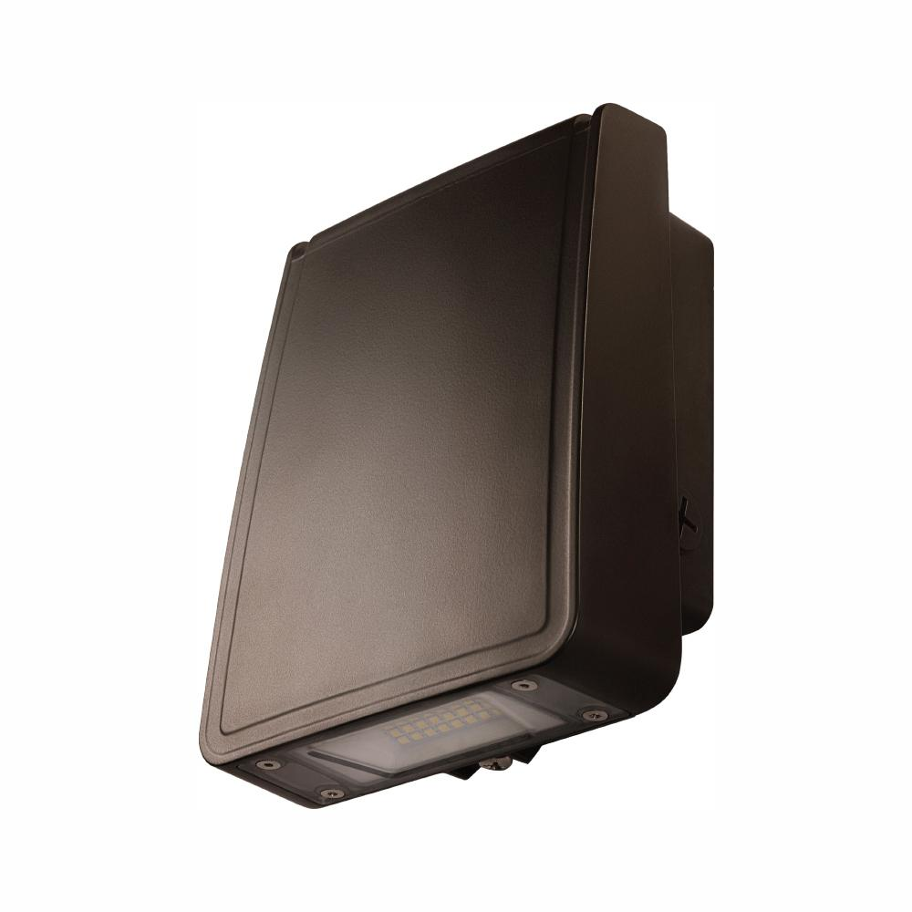 Commercial Electric Slim-Profile Bronze Outdoor Integrated LED Wall Pack Light with 1600 Lumens