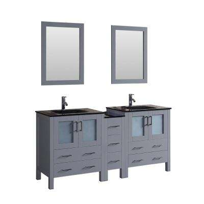72 in. W Double Bath Vanity with Tempered Glass Vanity Top in Black with Black Basin and Mirror