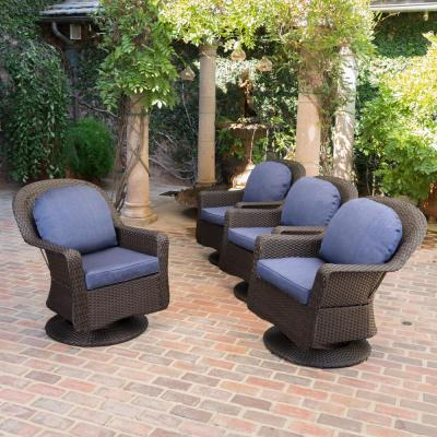 Liam Dark Brown Swivel Metal Outdoor Lounge Chair with Navy Cushion (4-Pack)