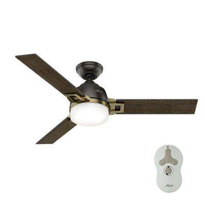 Leoni 48 in. LED Indoor Noble Bronze and Modern Brass Ceiling Fan with Universal Remote and Dimmable Bulbs