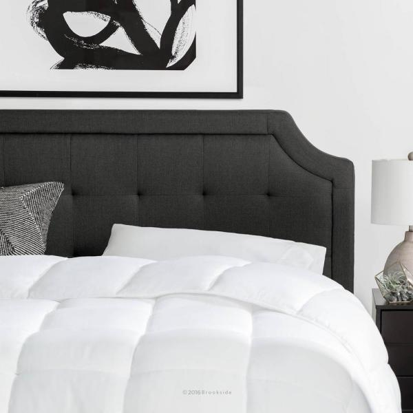 d82e3e71076945 Brookside Upholstered Scoop-Edge Queen Headboard with Square Tufting in  Charcoal