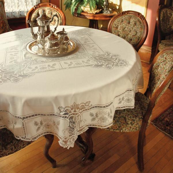 Heritage Lace Heirloom Round ECRU Polyester Tablecloth HL-7000E