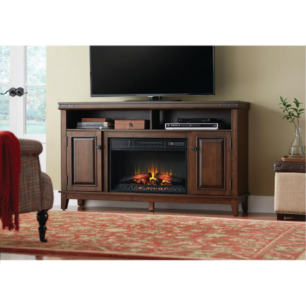 Benadretti 61 in. Media Console Electric Fireplace in Brown with Rivet