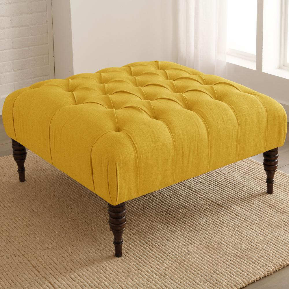 Superbe Linen French Yellow Tufted Cocktail Ottoman