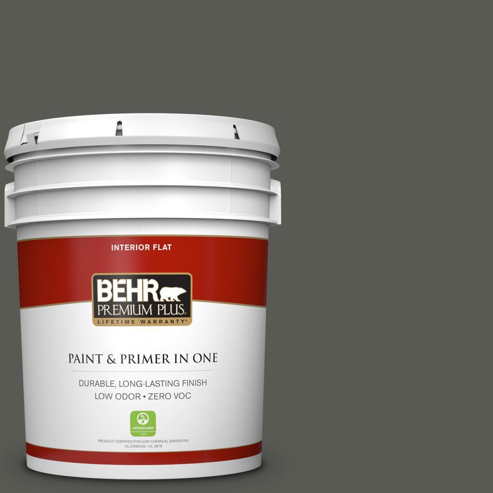BEHR Premium Plus 5 gal. #N370-7 Night Mission Zero VOC Flat Interior Paint, Grays
