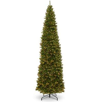 12 ft. North Valley Spruce Pencil Slim Artificial Christmas Tree with Clear Lights