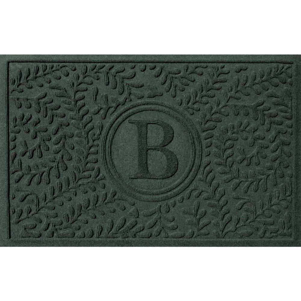 Superb Boxwood Evergreen 24 In. X 36 In. Monogram B Door Mat