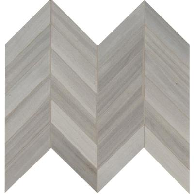 Havenwood Platinum Chevron 12 in. x 15 in. x 9 mm Matte Porcelain Mesh-Mounted Mosaic Tile (10 sq. ft. / case)