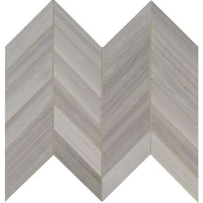 Havenwood Platinum Chevron 12 in. x 15 in. x 9 mm Glazed Porcelain Mesh-Mounted Mosaic Tile (10 sq. ft. / case)