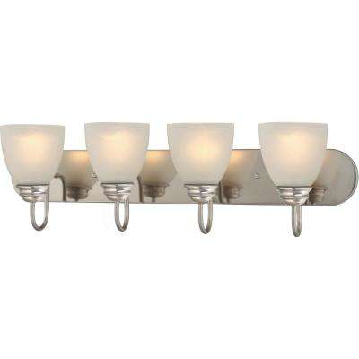 Mari 4-Light Indoor Brushed Nickel Bath or Vanity Light Bar or Wall Mount with White Frosted Glass Bell Shades