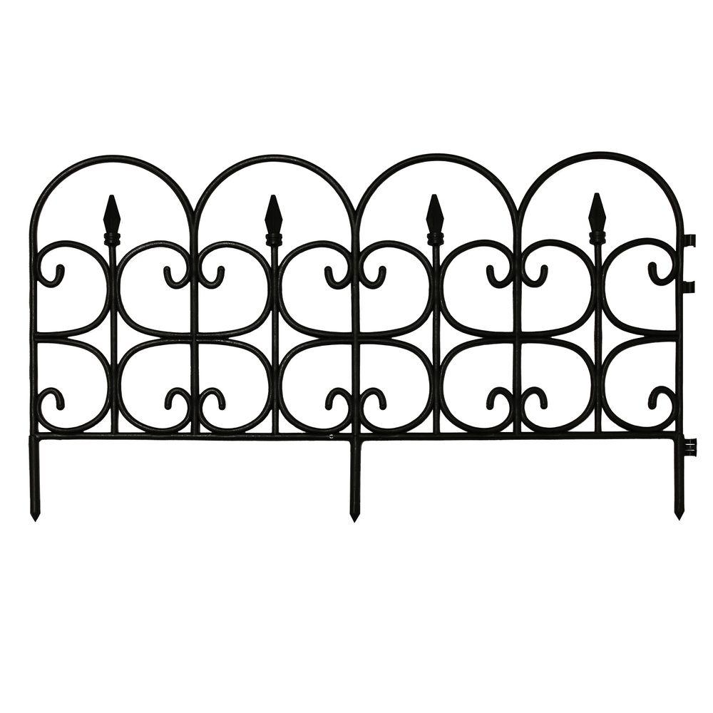 Emsco Victorian Fleur De Lis Medium 16 In. Resin Garden Fence  (12 Pack) 2093HD   The Home Depot