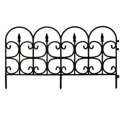 Victorian Fleur De Lis Medium 16 in. Resin Garden Fence (12-Pack)